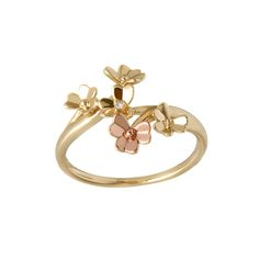 Diamond set yellow gold Love Shamrock spray ring with one Rare Irish rose gold flower Irish Jewelry, Unique Jewelry, Celtic Goddess, Ring Size Guide, Gold Flowers, Jewelry Collection, Ireland, White Gold, Rose Gold