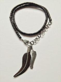 Wood Chain,Pave Diamond Feather.My Fav