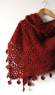 Crochet Alpaca Shawl - Handmade Hand Knit Warm Shawl -Brick Red Terracotta Wrap - Gift For Her - Ready To Ship Always wanted to learn how to knit, but not certain the place to start? This particular Complete Beginner Knitting Line . Knitted Shawls, Crochet Scarves, Crochet Shawl, Crochet Clothes, Hand Crochet, Hand Knitting, Beginner Knitting, Chrochet, Crochet Flower Patterns