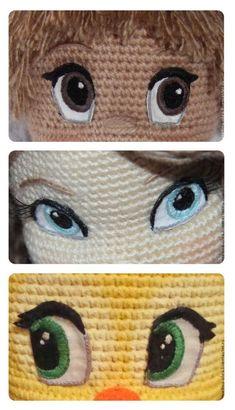 ricamare gli occhi degli amigurumi