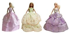 Barbie Fairy Evening Dress Ballroom Dresses Wedding Dresses 3 Dress Set  Dolls NOT Included * You can get more details by clicking on the image.