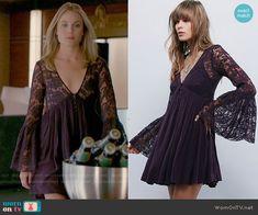 Camille's dark purple lace bell-sleeve dress on The Originals.  Outfit Details: http://wornontv.net/54238/ #TheOriginals