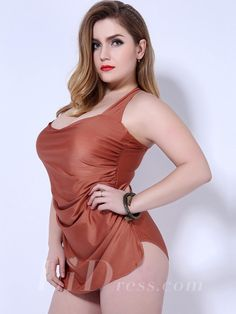 Brown One-Piece Plus Size Womens Swimsuit Lidyy1605202011