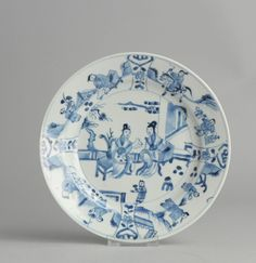 Antique 18th c Qing Period Blue & White Porcelain Plate Chinese Qing China Art