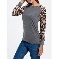 Trendy Leopard Print Long Sleeve Baseball T-Shirt For Women #affiliate
