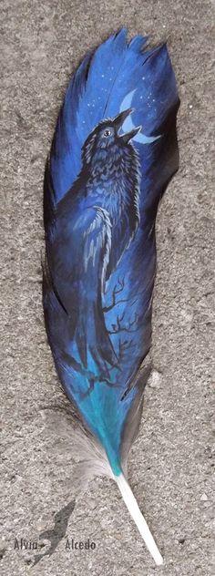 Raven on raven feather by =AlviaAlcedo on deviantART