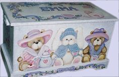 pictures of hand painted toy chests   TEDDY BEAR and BUNNY Teaparty Toy Box by originalsbybarbmazur