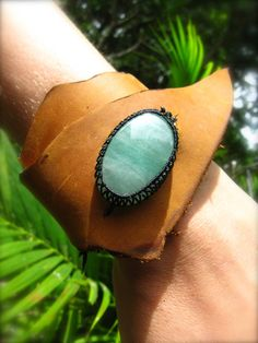 Leather Cuff Bracelet and Macrame Aventurine Semi Precious