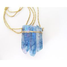 Rough Gemstone Necklace Raw Crystal Quartz Point Boho... (67 CAD) ❤ liked on Polyvore featuring jewelry, necklaces, vintage necklaces, crystal necklace, quartz necklace, bohemian jewelry and bohemian necklaces