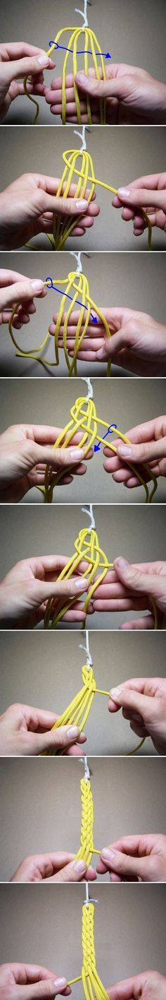 6-Strand braiding shown on a bracelet. I could compare this to fancy braiding for bread loaves or hair.:
