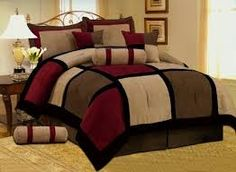 Grand Linen 7 PC Modern Black Burgundy Red Brown Suede Comforter Set/Bed in A Bag - King Size Bedding Gold Comforter Set, Brown Comforter, Bed Comforter Sets, Queen Size Bedding, Comforters, Bedroom Red, Bedroom Decor, Bedroom Ideas, Bedroom Inspiration