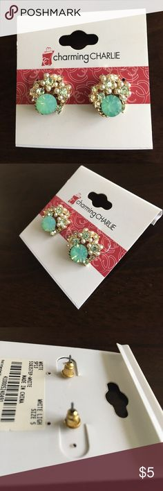 Sea foam green post earrings These FABULOUS, perfect for spring earrings are perfect for your best outfit! Above the large gem on each earring, there's a cluster of lighter green gems with pearls. On a gold colored setting. Never worn on original place card setting! Charming Charlie Jewelry Earrings