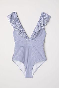 Swimsuit with Flounce - White/Blue striped - Ladies Bikini Modells, Bikini Sets, Bikini Beach, Best Swimsuits, Women Swimsuits, Monokini Swimsuits, One Piece Swimwear, One Piece Swimsuit, Pullover Shirt