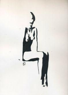 """Saatchi Online Artist Soraia Veret; Painting, """"Ink Nude III"""" #art"""