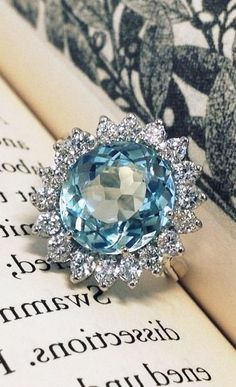 Blue Ring with Diamonds