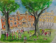'Richmond Theatre', print from watercolour showing Richmond Theatre, Richmond Green, Surrey. Richmond Green, Richmond London, Watercolor Landscape, Watercolor And Ink, Richmond Upon Thames, Creative Illustration, Life Drawing, Theatre, Sculptures