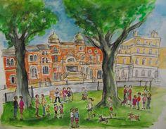 Print from watercolour, Richmond Theatre, Richmond Green.  Richmond, London.   By London-based artist, Caroline Sayer See more at: www.carolinesayer.co.uk