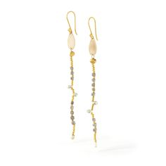 Beaded earrings of natural gray and yellow diamonds and 18K tiny beads hang  from a handcut 18K teardrop and 18K wires.