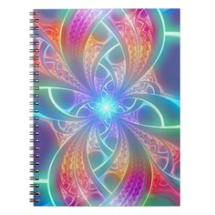 Psychedelic Rainbow Swirls Fractal Pattern Note Books