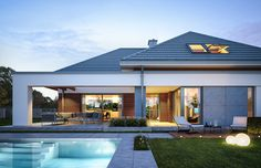 Projekt domu Hiacynt on Behance Modern Family House, Modern Bungalow House, Bungalow House Plans, Architect Design House, Duplex House Design, House Plans Mansion, Dream House Plans, Beautiful House Plans, Model House Plan