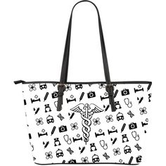 Nurse-Theme Large Leather Tote Bag