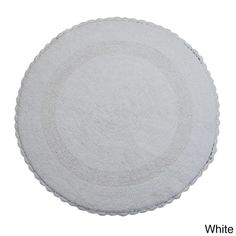 Saffron Fabs Bath Rug, Cotton 36 In Round, Reversible - Different Pattern on Both Sides, Hand Knitted Crochet Lace, Machine Wash (White) Crochet Doily Rug, Crochet Rug Patterns, Crochet Carpet, Crochet Borders, Bathroom Rugs, Bath Rugs, Bathroom Bath, Oval Rugs, Linen Store