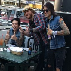Asking Alexandria and black veil brides.  These guys are so funny together!