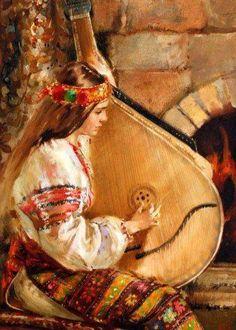 All Things Ukrainian - Art - Girl Playing Bandura Ethno Style, Ukraine Girls, Ukrainian Art, Russian Art, Beautiful Paintings, Sculpture, Traditional Art, All Art, Painting & Drawing