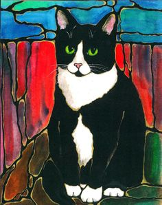 """Darling Tuxedo Cat Art 10""""x8"""" Print of original by K.McCants Cool Abstract Stained Glass Style background"""