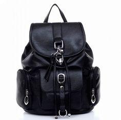 College Multi Pockets Buckle Backpack Schoolbag