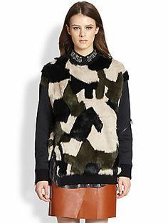 3.1 Phillip Lim Camouflage Dyed Rabbit Fur-Paneled Sweatshirt