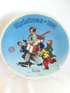1991 Norman Rockwell Christmas Plate  Santa's by LollysCubbyHole, $22.00
