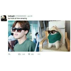 Omg why are these so similar?? My mind is so blown right now...like wahaaaat?? Why does Jimin look like a puppy with a scarf and shades...does that even make sense? -@BeautyandthePoet