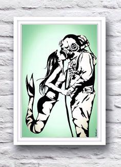 Mermaid Kissing Deep Sea Diver // Nautical Stencil Art Drawing w/Seafoam Green // Home Decor Poster Print on Etsy, $30.00