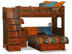 Berg Furniture Utica Full over Full Loft Bed with Stairs, 23-905