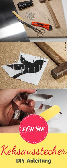 Keksausstecher selber machen Personalized biscuits for Christmas or wedding – here's a step-by-step photo tutorial to make cookie cutters for yourself. Personalised Biscuits, Christmas Crafts, Xmas, How To Make Cookies, Photo Tutorial, Some Ideas, Handicraft, Have Fun, Diy Crafts