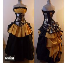 Nevermore Black and Gold Steampunk Full Bustle Gown Costume - Custom Size - by LoriAnn Costume Designs
