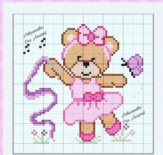 Disney Cross Stitch Patterns, Cross Stitch For Kids, Cross Stitch Baby, Betty Boop, Baby Patterns, Beading Patterns, Crochet Baby, Teddy Bear, Embroidery