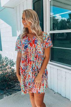 Stylish Splendor Dress: Coral Tie Front Dress, Tie Dress, White Skinnies, Eyelet Dress, Everyday Dresses, Fashion Boutique, Envy, Spring Fashion, Coral
