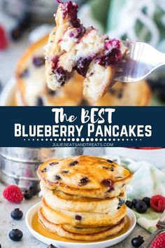 Looking for light, fluffy pancakes with ingredients already in your pantry? This is the Blueberry Pancake recipe for you! Plus, it's full of juicy blueberries. These pancakes are so easy to whip up for a weekday or weekend morning for the entire family. Top them with warmed syrup and butter then dig into them! They reheat great for a grab and go breakfast when you are in a hurry too! #pancakes #blueberry via @julieseats