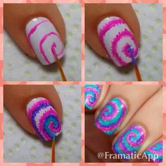 Tie-dye nails tutorial. Super easy
