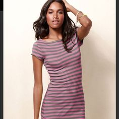 Fuschia VS t shirt dress VS dress in fuschia. Great casual dress w scoop neck in the back . Great for the summertime! Victoria's Secret Dresses