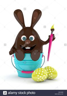 Download this stock image: 3d rendering of Easter chocolate bunny with pail and  painted eggs over white - HKC4GM from Alamy's library of millions of high resolution stock photos, illustrations and vectors.