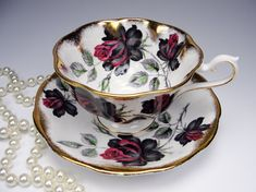Royal Albert MASQUERADE Tea Cup and Saucer, Scalloped Fluted Avon Shape, Black Roses,