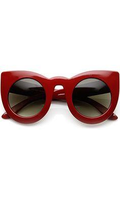 ZeroUV - Womens Oversized Bold Rim Round Cateye Sunglasses (Red) Best Price