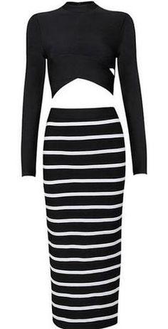eb91641d Black and White Two-Piece Bandage Dress Women's Fashion Dresses, Fashion  Sets, Fashion