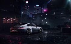 Download imagens Need For Speed, NFS, Porsche 911 Carrera S, autosimulator, noite