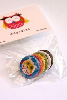 6 #magnets #owls design by Bora from www.kidsdinge.com