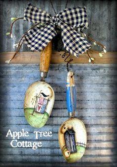 hand painted, vintage, kitchen scoops hanger