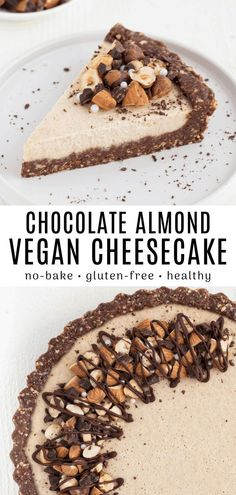 This no-bake chocolate almond cheesecake is a creamy, chocolate dream! The crust is rich with cacao while the filling contains smooth almond butter. It's also vegan and gluten-free. bake Desserts No-Bake Vegan Chocolate Almond Cheesecake Vegan Dessert Recipes, Gluten Free Desserts, Brownie Recipes, Vegan Cheesecake Recipes, Vegan Baking Recipes, Healthy Vegan Desserts, Dessert Healthy, Flour Recipes, Keto Desserts